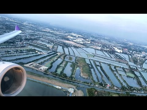 Flight TG602 Bangkok to Hong Kong. Full Flight. Takeoff, Sunset and Night Landing. Airbus A330