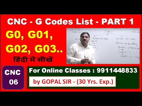 CNC-G  CODES (G0, G01, G02, G03 G04 G20 G21 G90 ) IN CNC PROGRAMMING   IN HINDI BY GOPAL SIR   C38