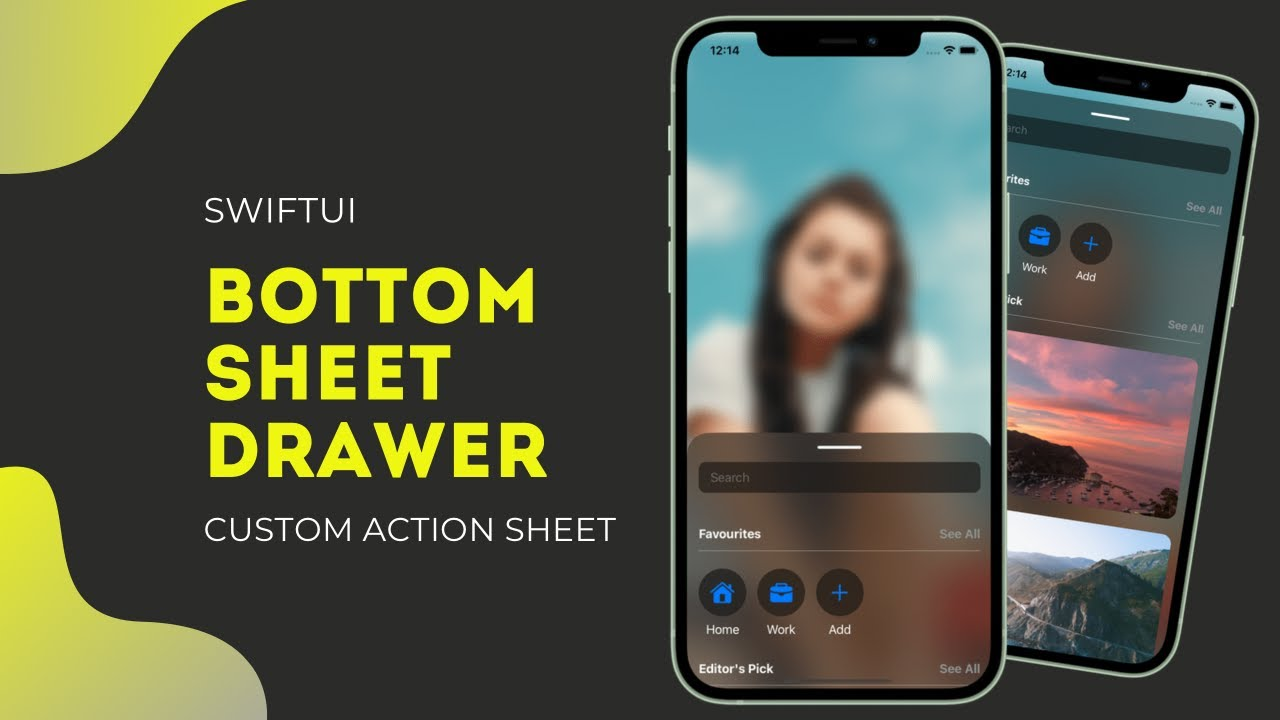SwiftUI Bottom Sheet Drawer - Custom Action Sheet - Drag Gesture - SwiftUI Tutorials