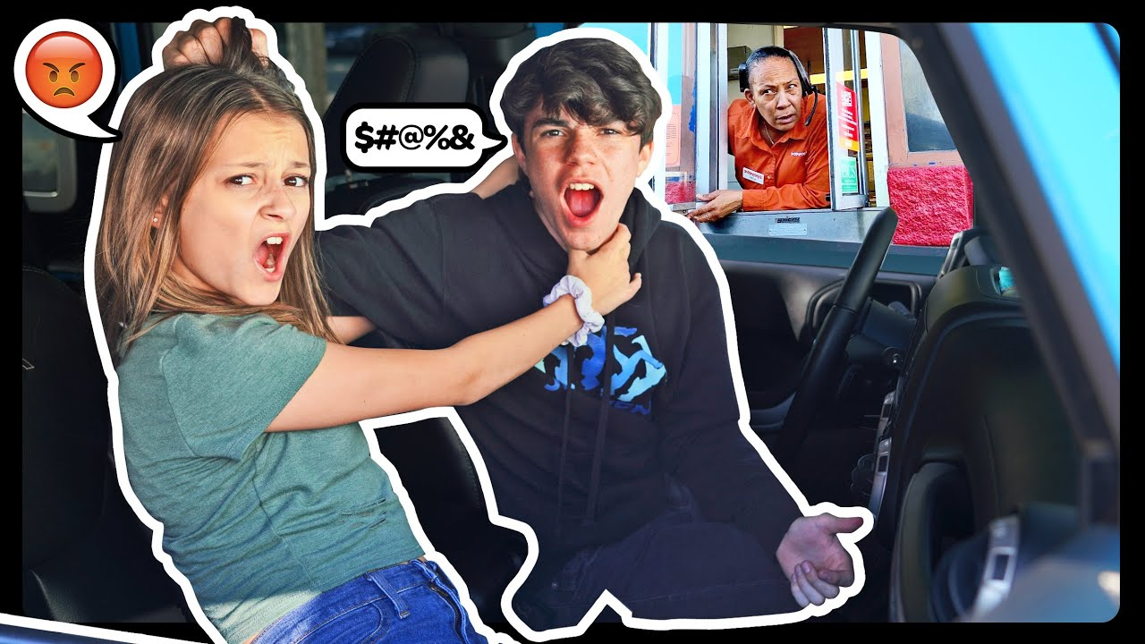 ARGUING In The DRIVE THRU'S To See People's REACTIONS Prank! **WE BROKE UP** ??|Sophie Fer