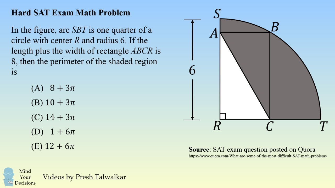 One Of The Hardest SAT Math Problems - Can You Solve It In 2 Minutes?