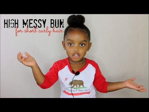 High Messy Bun For Short Curly Hair Kids Yoshidoll YouTube