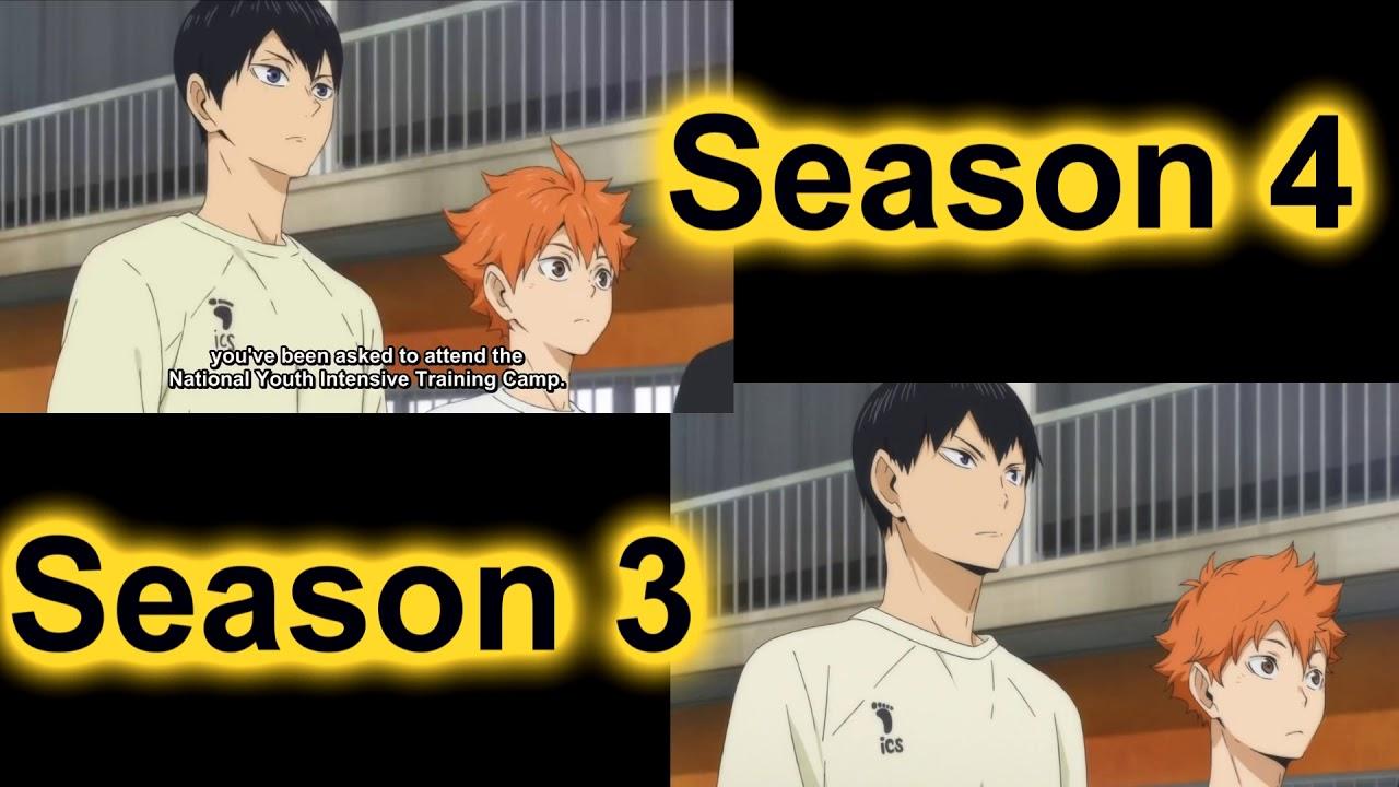 Haikyuu!!! Season 3 and Season 4 Animation Comprasion - YouTube