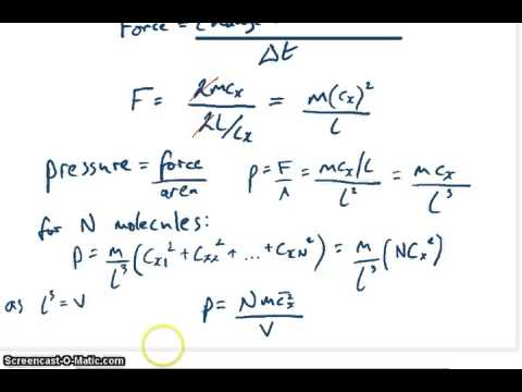 Derivation Of Kinetic Theory Of Gases Youtube