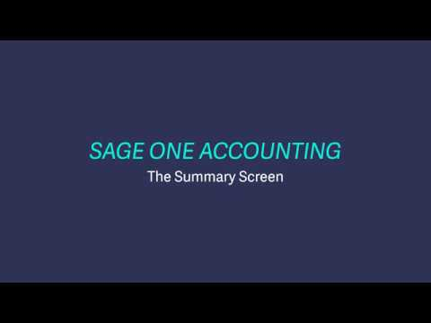 Sage Business Cloud Accounting (formerly Sage One) UK and Ireland - The Summary screen