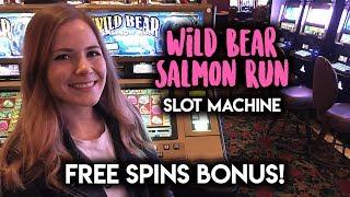 WILD Bear Salmon Run Slot Machine! Had to work HARD for that BONUS!
