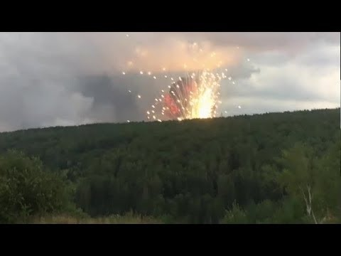 Fire at the ammunition depot in Krasnoyarsk region, Russia