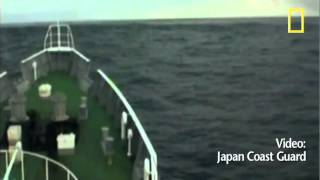 Boat Goes over MASSIVE Tsunami Wave out at Sea