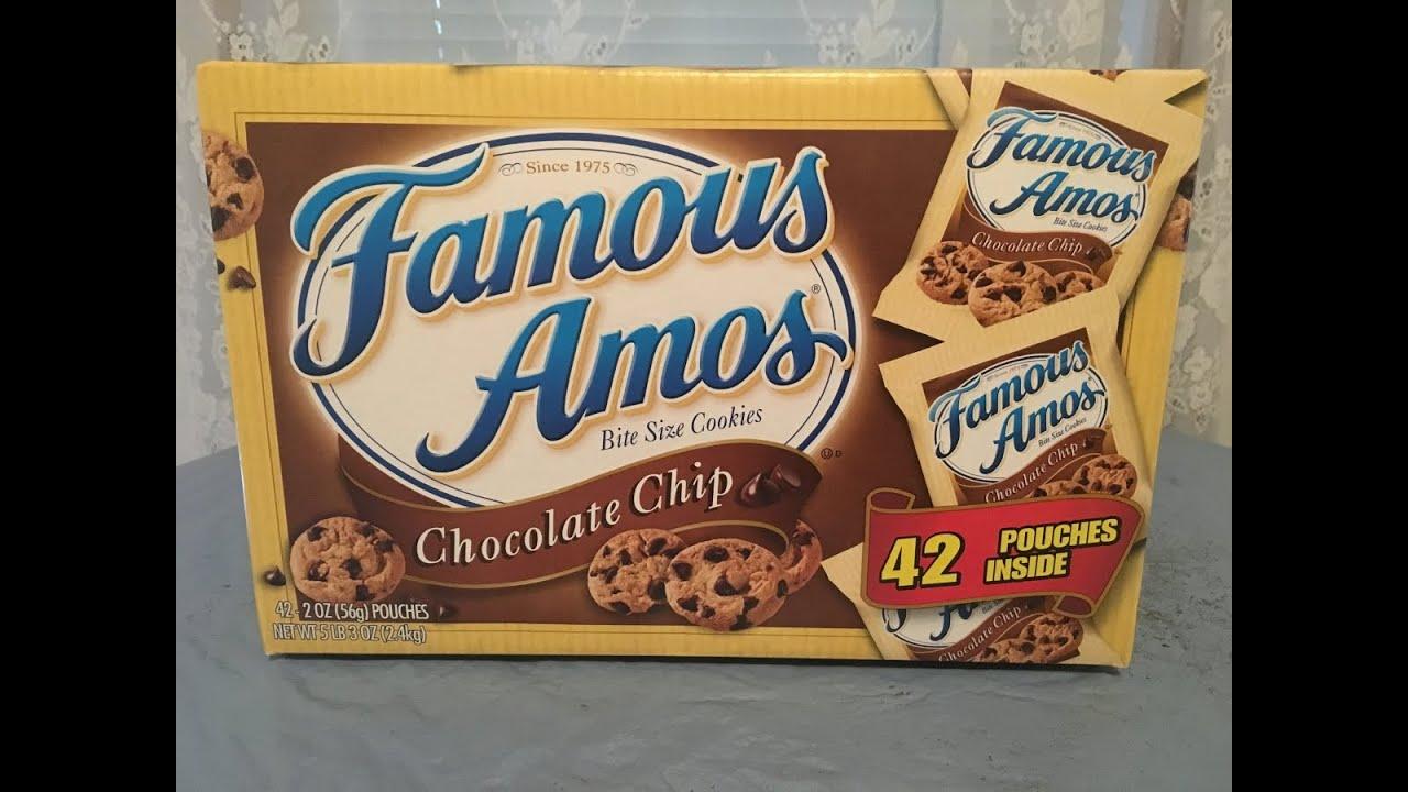 famous amos cookies Famous amos cookies 1 c butter, softened 3/4 c sugar 1 tsp vanilla 1 tsp water 2 c raisins 3 eggs, lg 2 1/2 c flour, plain 1 tsp soda 1/2 tsp salt 1 pkg semi-sweet chocolate bits 3/4 c white sugar.