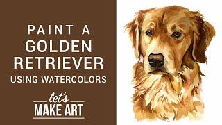 Golden Retriever Watercolor Tutorial with Sarah Cray Video