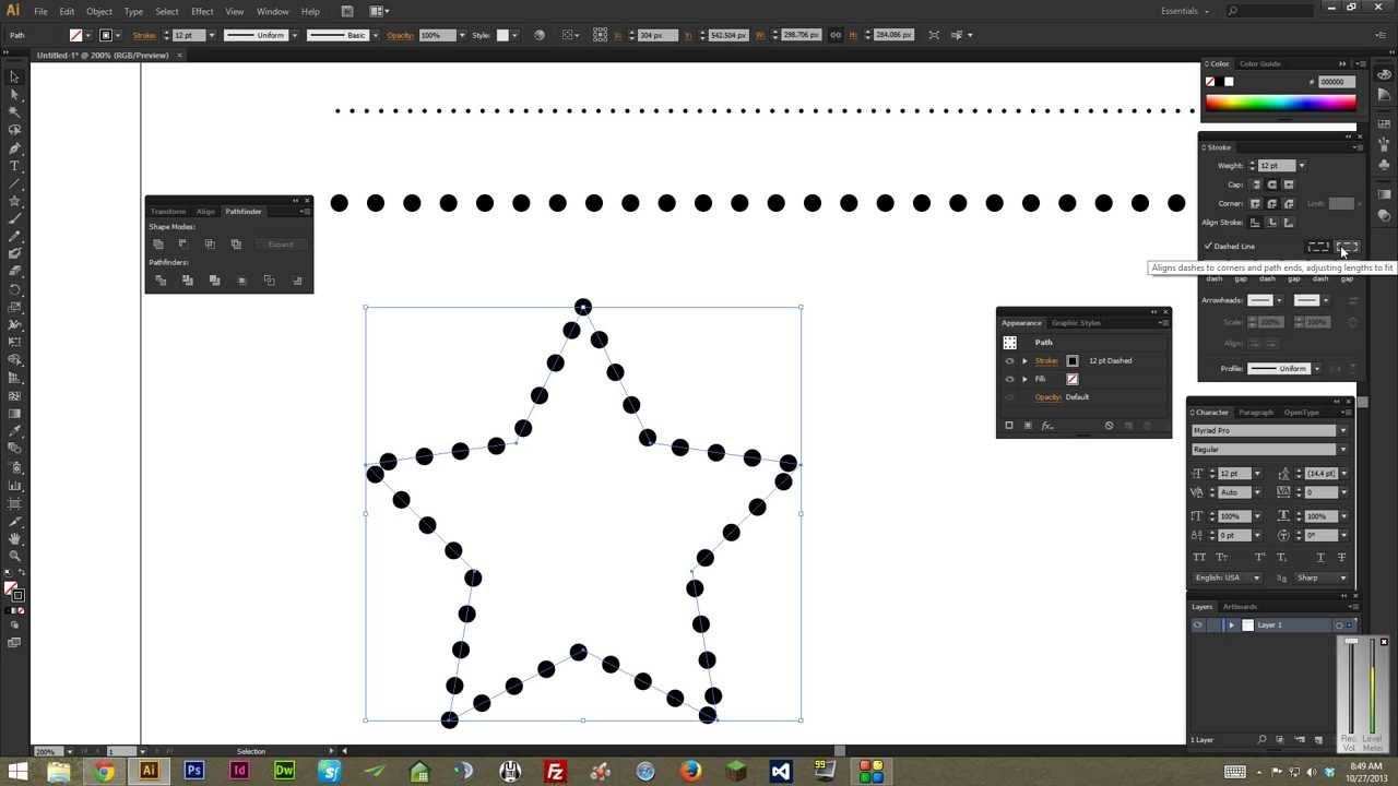 Drawing Lines With Adobe Illustrator : Adobe illustrator how to make dotted lines tutorial youtube