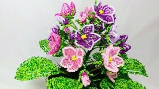 Фиалка из бисера Мастер класс Часть 1. Цветочки Авторский мк от Виктории. Beaded African violets