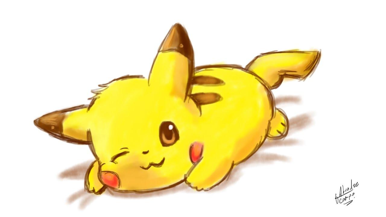 Como dibujar a pikachu kawaii pokemon youtube - Pikachu kawaii ...
