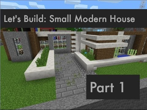 Lets build small modern house part 1 minecraft pocket for Modern house minecraft pe