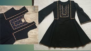 Ladies frock style kurti || beautiful neck design using lace and anchor thread || full tutorial