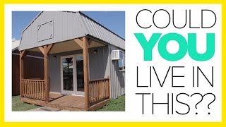 Tiny House Tours on a Derksen Portable Building Lot With Cabins!!