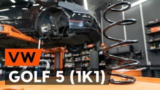 How to change front springs / front coil springs on VW GOLF 5 (1K1) [TUTORIAL AUTODOC]