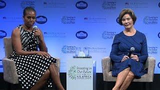 Laura Bush and Michelle Obama talk spotlight and criticism