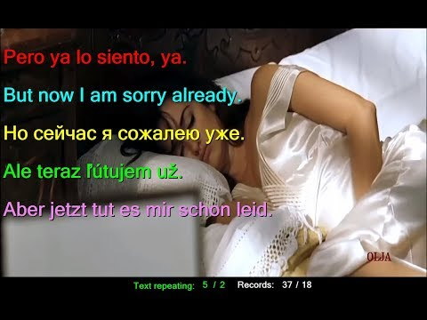 Learn Spanish by Gipsy Kings and Penelope Cruz Trista Pena Sad pain Spanish English Russian Slov