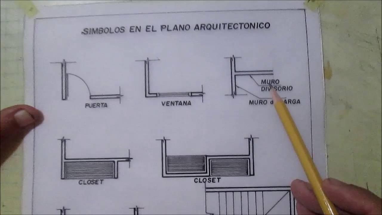Dibujo tecnico simbolos en el plano arquitectonico youtube for Simbologia de niveles en planos arquitectonicos