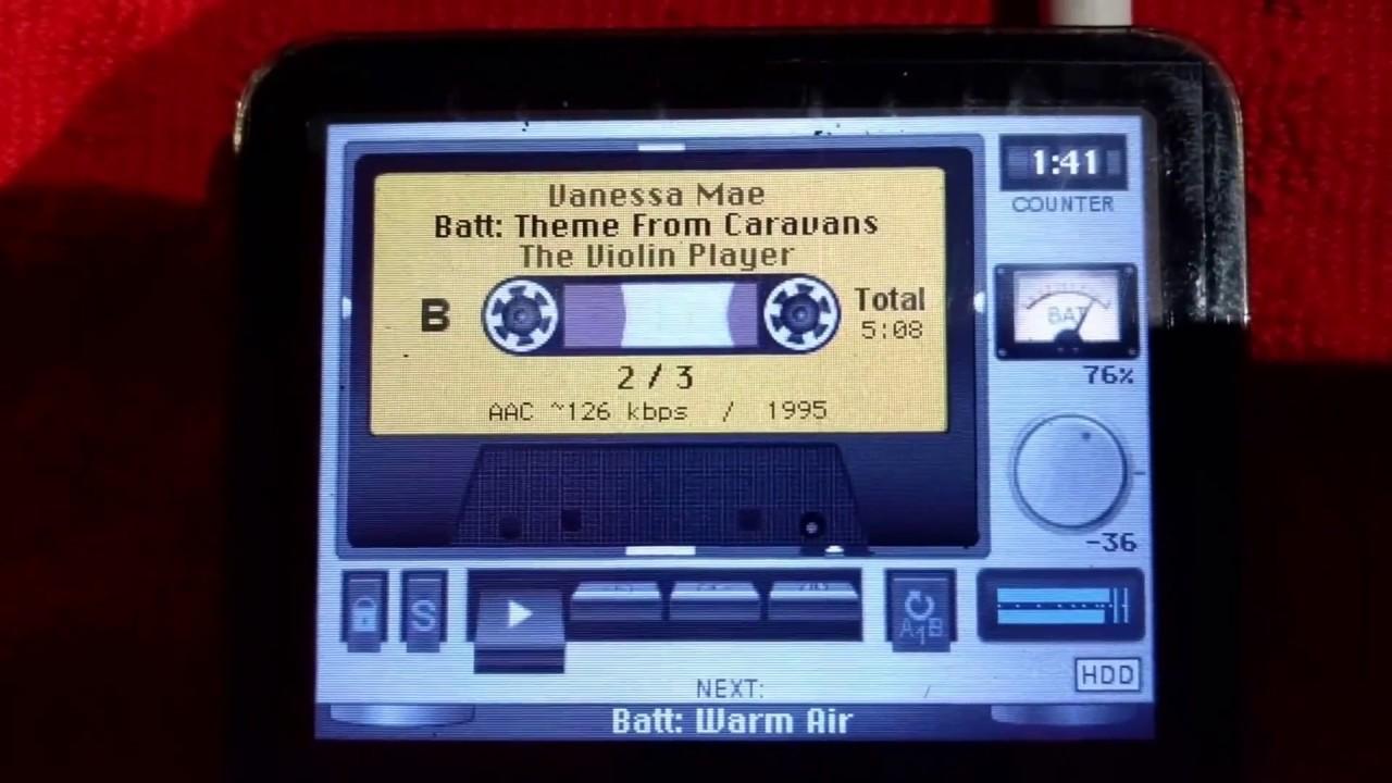 Retro cassette theme on Rockbox firmware playing on my iPod