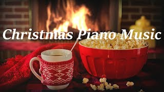 Traditional Christmas Piano Music with Cozy Fireplace and Soft Crackling Fire Sounds