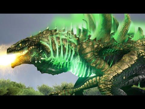 GOLDEN GODZILLA VS MECHA SPINO + MECHA T.REX!!! - ARK Survival Evolved Modded