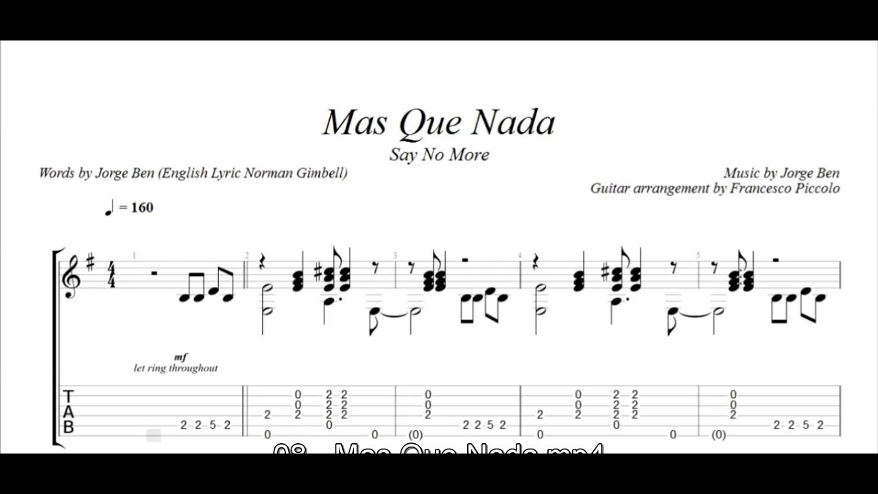 Fingerstyle Guitar Mas Que Nada From Latin Collection Nr 8