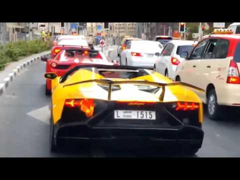 Dubai: Lamborghini Aventador Catches Fire While Waiting For Traffic Lights!
