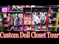Custom DOLL Walk-In CLOSET ROOM TOUR (DIY Homemade)- PLUS easy Barbie Doll Crafts