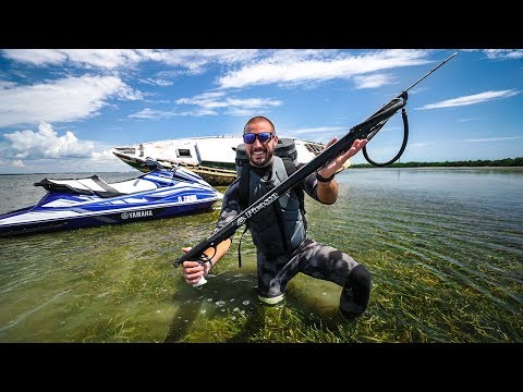 SpearFishing Under Old Abandoned ShipWrecks!! (GiantFish) | Jiggin' With Jordan