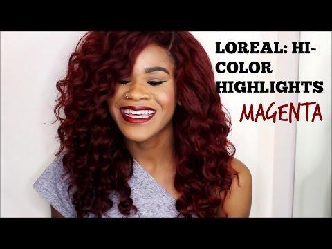RED HAIR, NO BLEACH (Loreal HI-COLOR Highlights : Magenta)