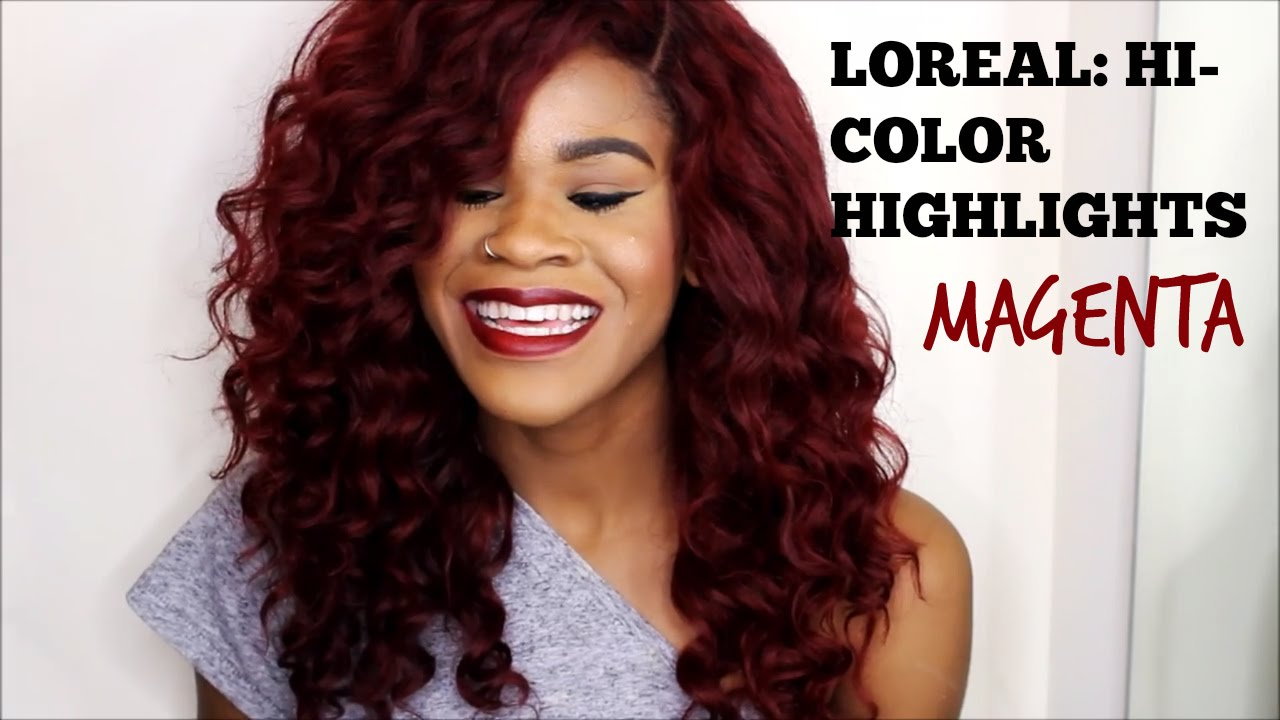 Red Hair No Bleach Loreal Hi Color Highlights Magenta Youtube