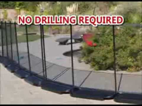 No Holes Pool Fence No Drilling In The Ground Youtube