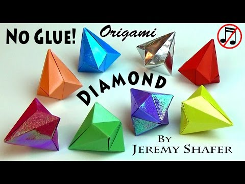 REAL Origami Diamond -- NO GLUE! (no music version)