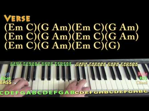 Just Like Fire (Pink) Piano Lesson Chord Chart - Em C G Am