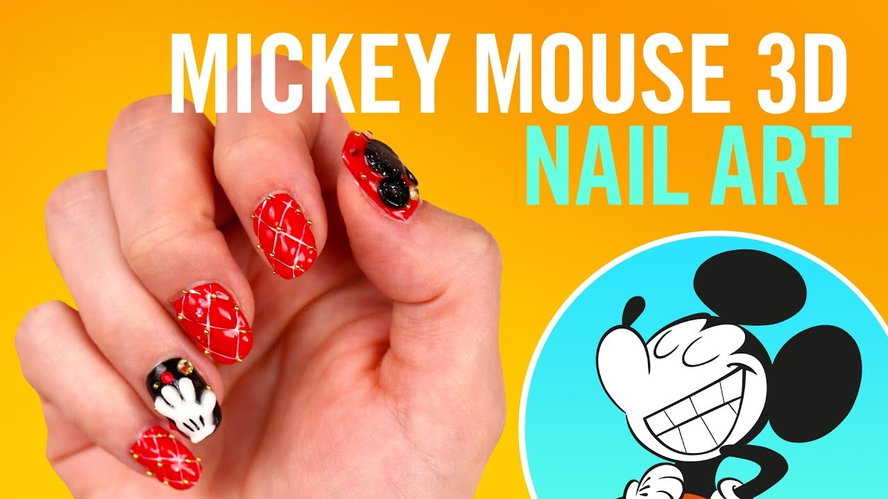 Mickey Mouse 3D Nail Art - YouTube