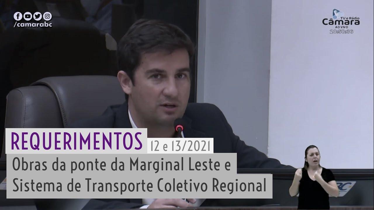 Requerimentos sobre obras da Marginal Leste e Sistema de Transporte Coletivo Regional são aprovados