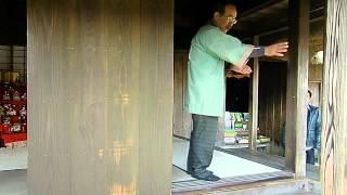 Demonstration of Japanese Samurai House's Sliding Doors in Chiran, Kagoshima, Japan