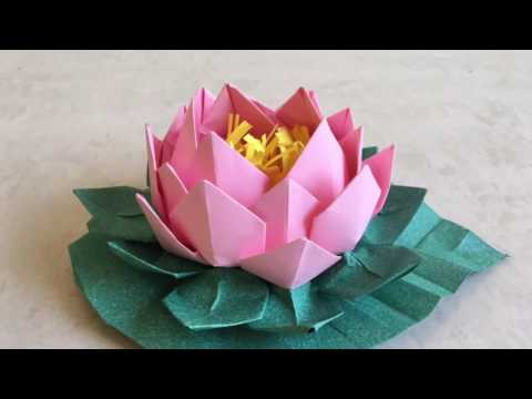 Origami Lotus: Easy paper flower with leaf tutorial (step by step) | Priti Sharma