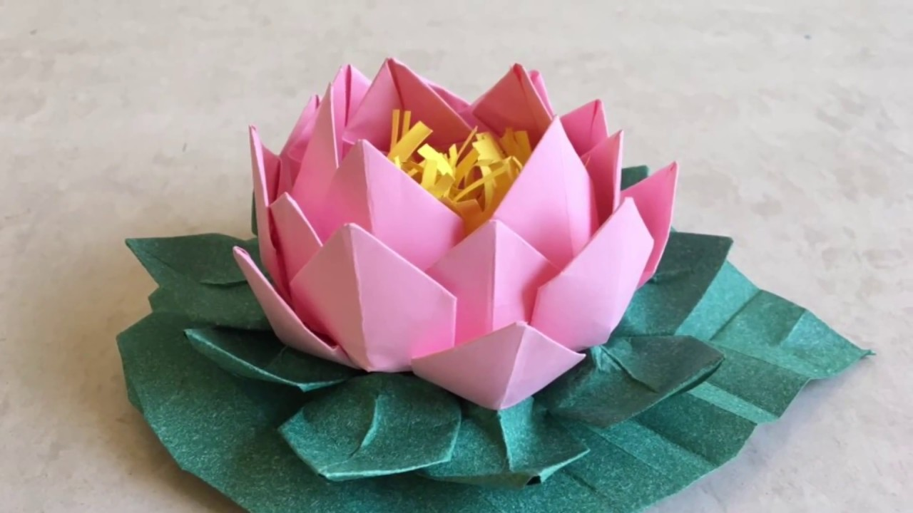 Origami Lotus Easy Paper Flower With Leaf Tutorial Step By Step