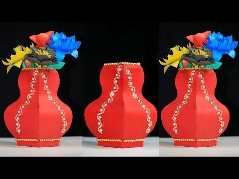 How To Make A Paper Flower Vase: card paper vase diy