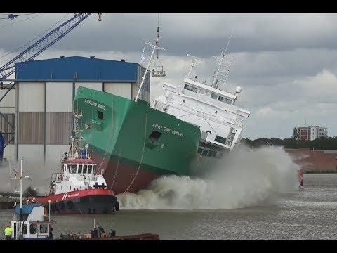 4K   Spectacular Ship Launch ARKLOW WAVE   Aerial Shots   Ferus Smit Leer