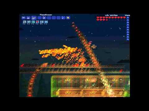 Terraria - Flamethrower Vs Destroyer HardMode