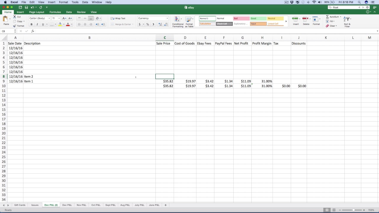 How I Track My Ebay Sales Using Excel