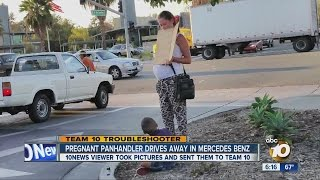 Caught on camera: Pregnant beggar with boy drives off in a MercedesBenz