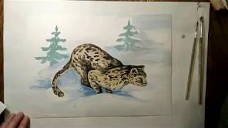 Рисую Снежного барса(+Вивальди)