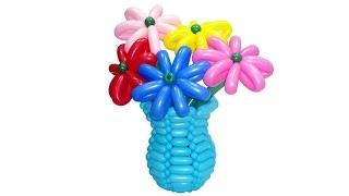Корзина ваза для цветов из воздушных шаров