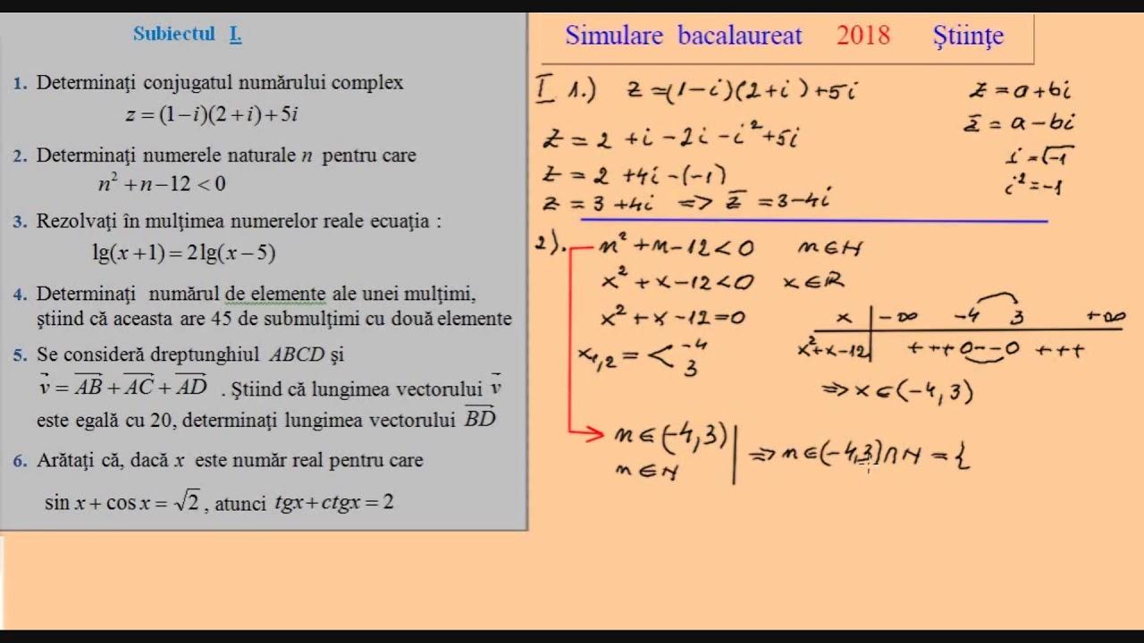 Simulare Clasa A 8 A 2019 Matematica: Barem Simulare Matematica 2019 Clasa 12