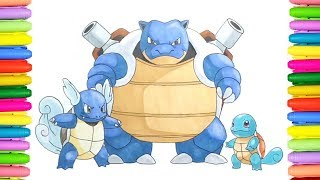 How to draw and color Squirtle evolutions from Pokemon